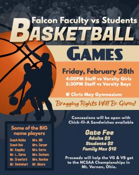 Faculty vs Students Basketball Games Flyer