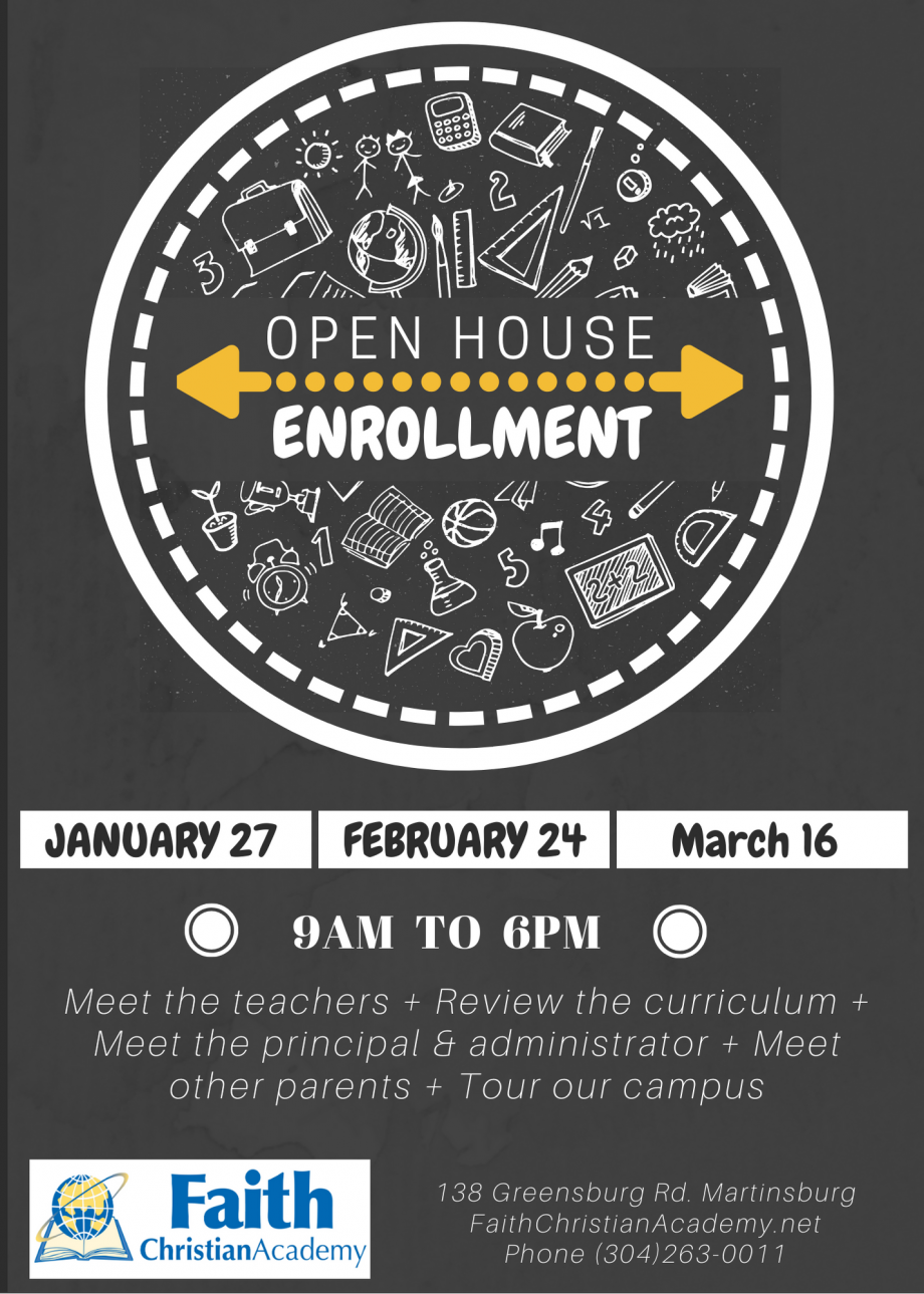 Open House Enrollment - January 27th, February 24th, March 16th - 9AM to 6PM